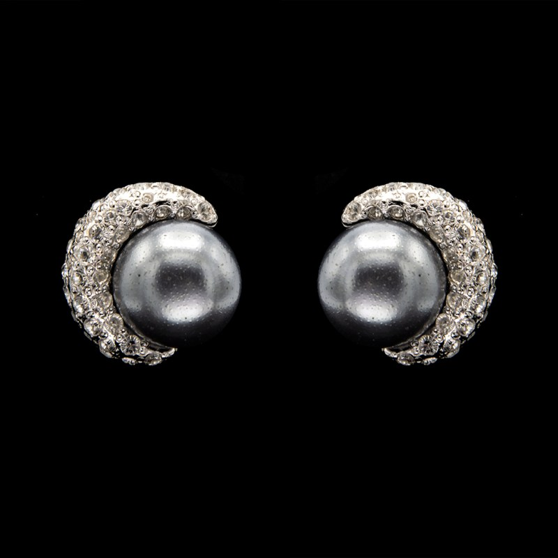 Italian Paste & Faux Pearl Crescent Earrings, 1985