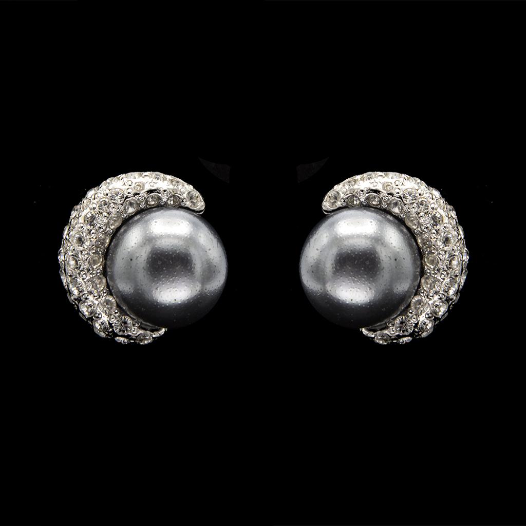 Italian Paste & Faux Pearl Crescent Earrings, 1985