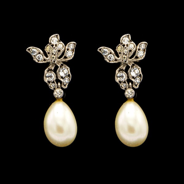 French Sterling Paste Pearl Drop Earrings, 1920