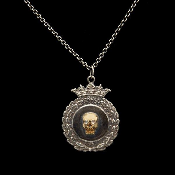 Diamond Eye Memento Mori Skull on 1865 Sterling Crowned Wreath