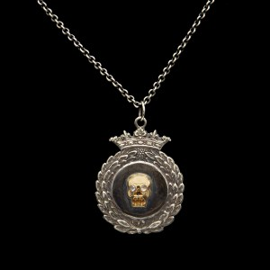 Diamond Eye Memento Mori Skull on 1865 Sterling Crowned Wreath