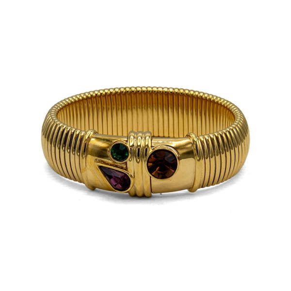 Givenchy Gilt Gas Hose Bangle with Polychrome Paste Gems, 1990