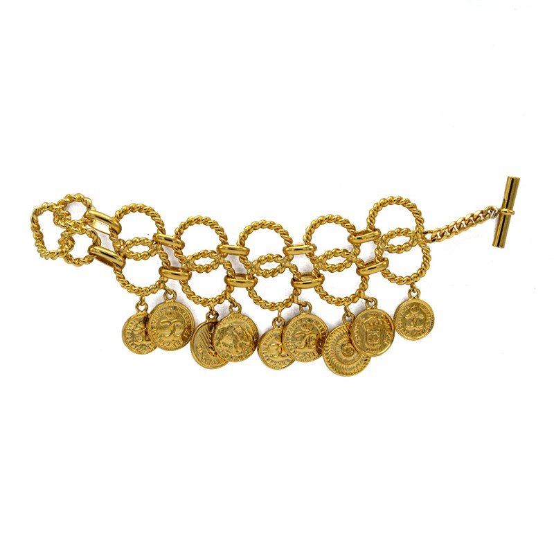 Chanel Gilt Rope Twist Coin Charm Bracelet, 1986