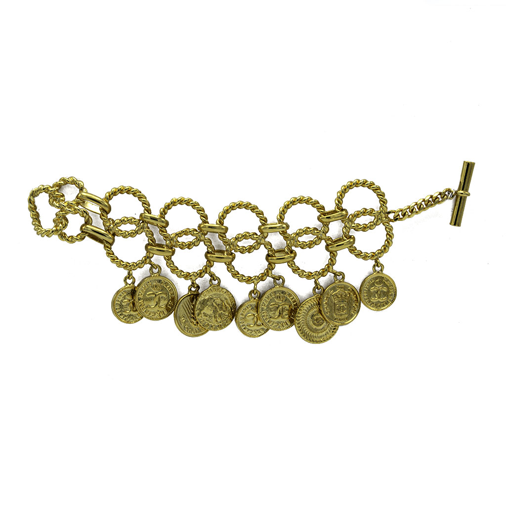 Chanel Gilt Rope Twist Coin Charm Bracelet, 1986