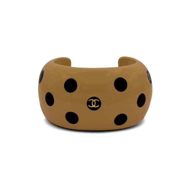 "Chanel 1 3/4"" Beige Acrylic & Black Polka Dot Cuff, Autumn 2000"