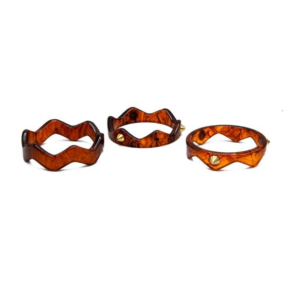 Bakelite Trio of Zig Zag Stacker Bracelets with Gold Studs