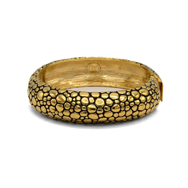 "Givenchy 3/4"" Domed Gilt Alligator Skin Bangle, 1990"