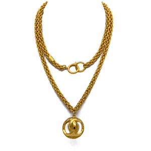 "Chanel 35 3/4"" Woven Chain Double Sided Logo Pendant Necklace, 1980"