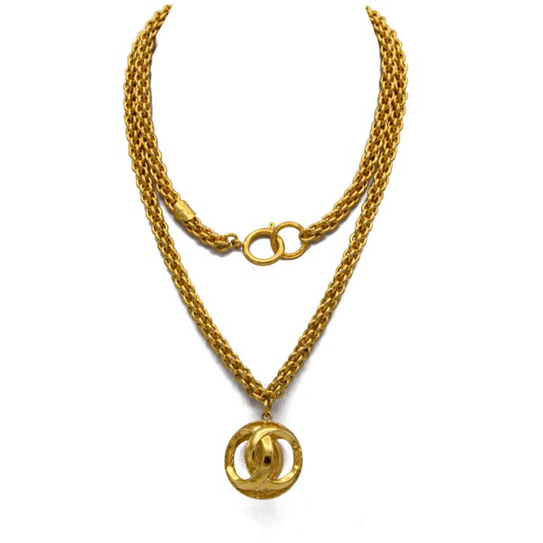 """Chanel 35 3/4"""" Woven Chain Double Sided Logo Pendant Necklace, 1980"""