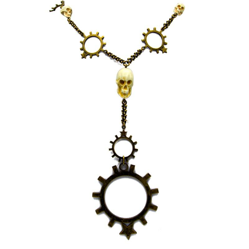Givenchy Brass Gear & Skulls Necklace, circa 1996-2001