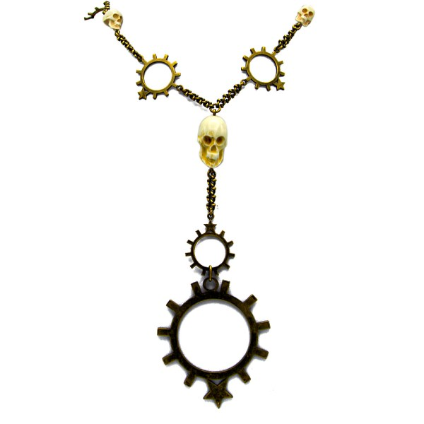Givenchy Brass Gear & Skulls Necklace, circa 1996-2001