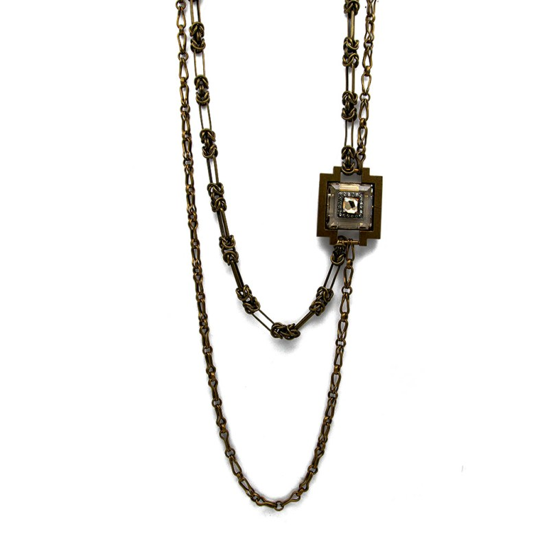 """Lanvin Double Strand Asymmetrical Antiqued Bronze 33"""" Necklace, 2000"""