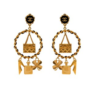 Chanel Gilt & Leather Doorknocker Style Hoops with Iconic Charms, Cruise 1994