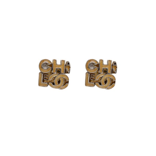 Chanel Silvertone & Yellow Enamel Earrings, 2000