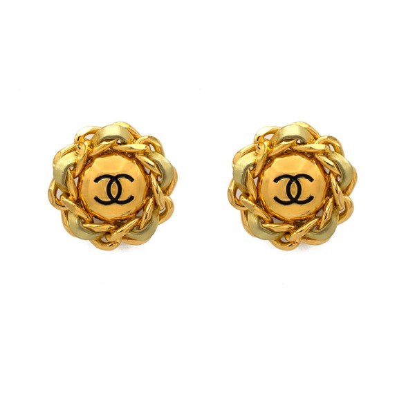"""Chanel 1 3/4"""" Gilt Earrings with Gold Leather Curb Chain Frame, 1989"""