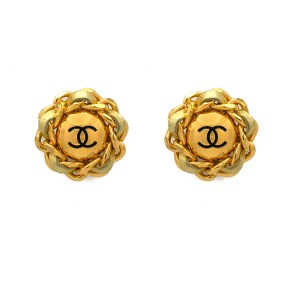 "Chanel 1 3/4"" Gilt Earrings with Gold Leather Curb Chain Frame, 1989"