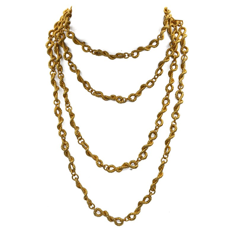 "Chanel 64"" Gilt Rope Twist Necklace, 1970"
