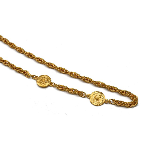 """Chanel 33 3/4"""" Oval Link Chain with CC Logo Disks, 1980"""