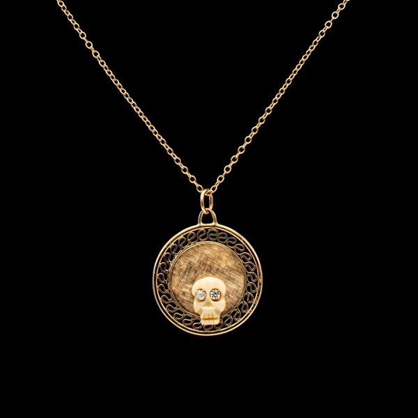 Memento Mori Bone Skull with Diamond Eyes on Florentine Gold Disk Pendant
