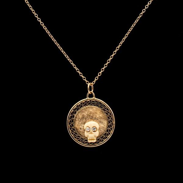 Memento Mori Bone Skull with Diamond Eyes on Florentine Gold Disk Pendant
