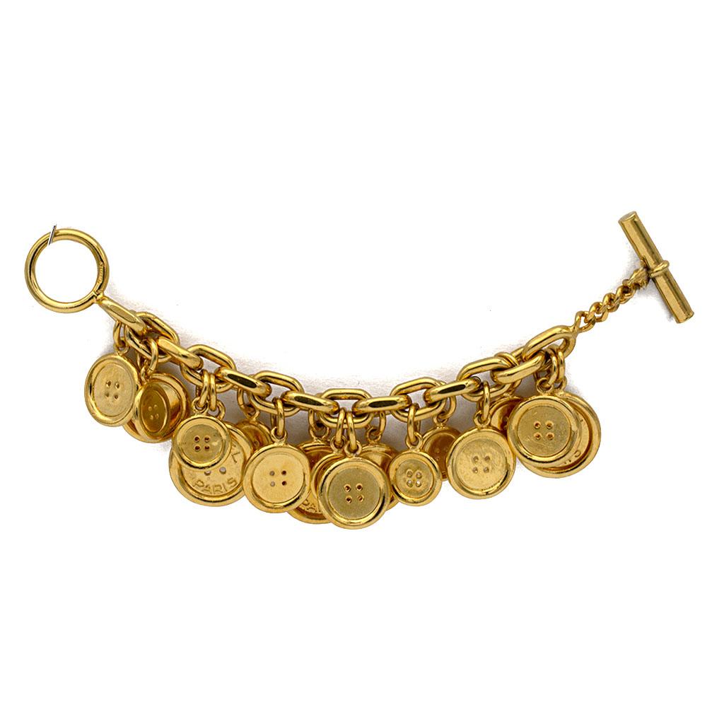 "Chanel Chunky 8"" Gilt Button Charm Bracelet, 1970"
