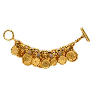 "Chanel Chunky 8"" Gilt Button Charm Bracelet, 1970"