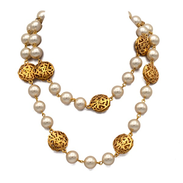 """Chanel 34"""" Pearl Necklace with 10 Openwork Stations, 1988"""