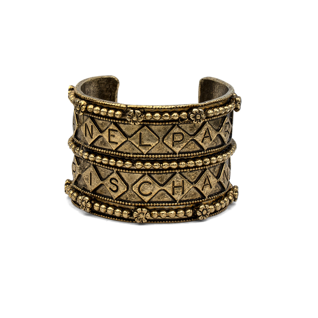 Chanel Antiqued Gold Tribal Look Cuff Bracelet, 1970