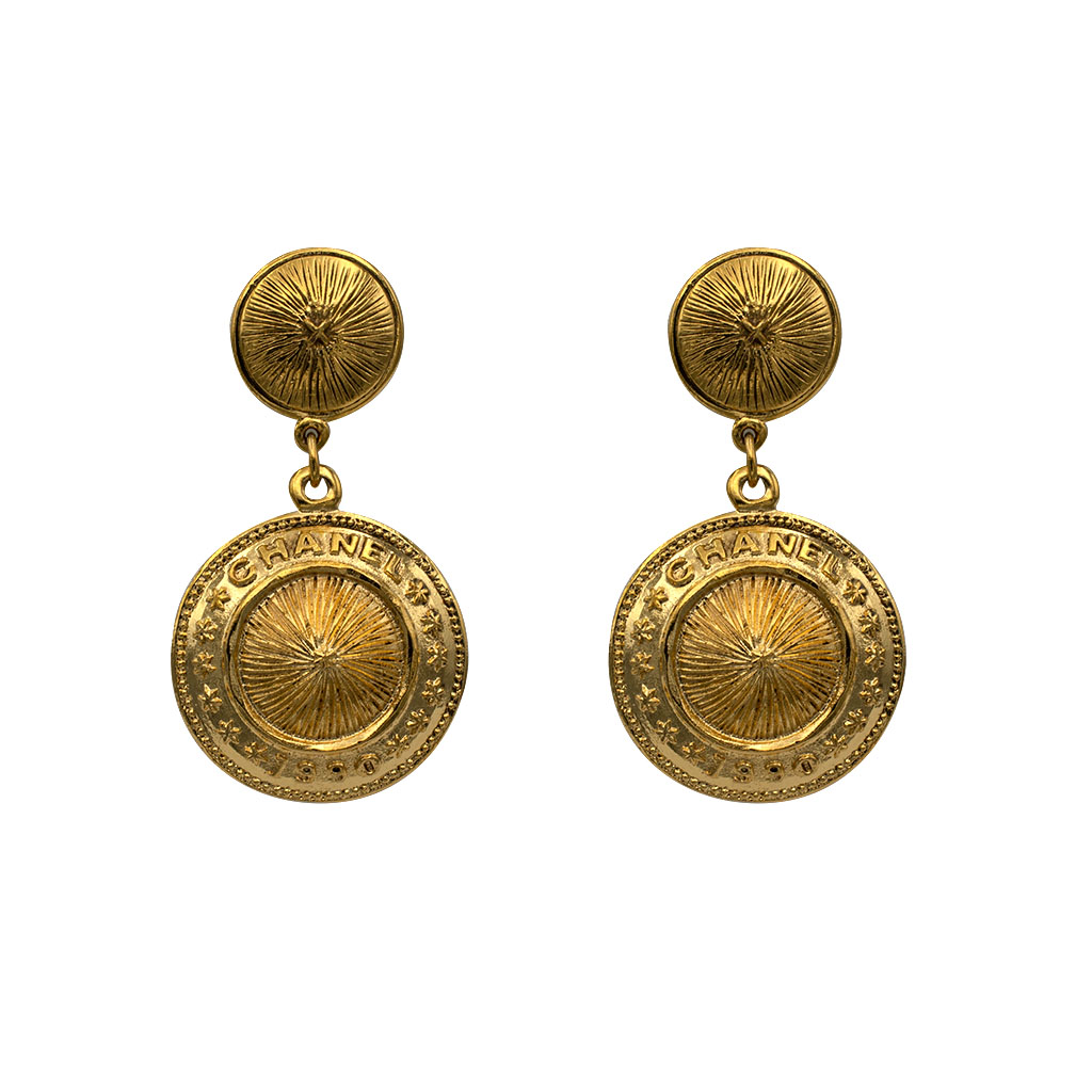 """Chanel 2 3/8"""" Gilt Ribbed Disk Drop Earrings, 1990"""
