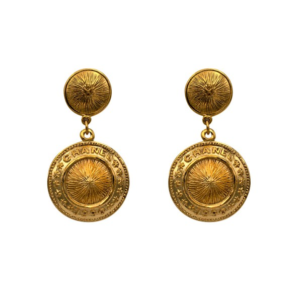 "Chanel 2 3/8"" Gilt Ribbed Disk Drop Earrings, 1990"