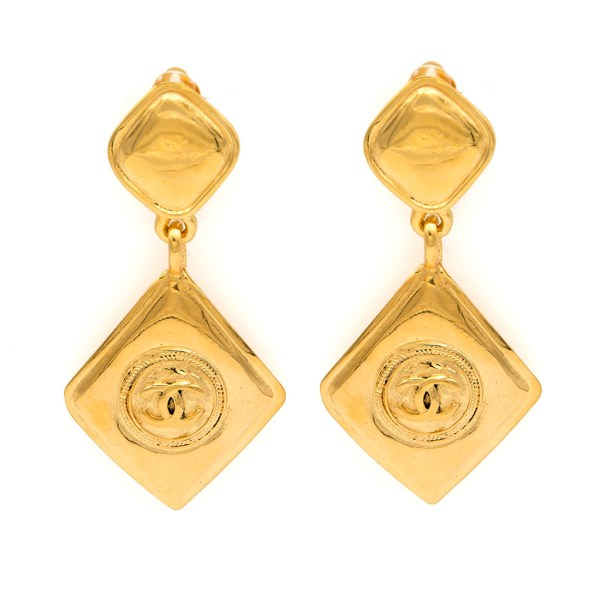 "Chanel 3 5/16"" Diamond Dangle Earrings, 1990"