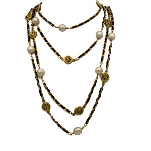 "Chanel 82"" Gilt curb Chain & Black Leather Necklace with Pearls & Logos, Autumn 1994"