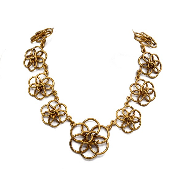 "Chanel 14 1/2"" Gilt Graduating Wire Work Camellia Necklace, 1990"