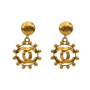 "Chanel 2 3/4"" Gilt Hammered Logo & Beaded Border Hoop Earrings, 1988"