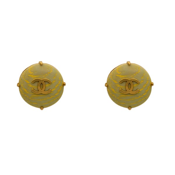 Chanel Green Wood Grain Acrylic Disk Earrings with Gilt Logo, Spring 1994