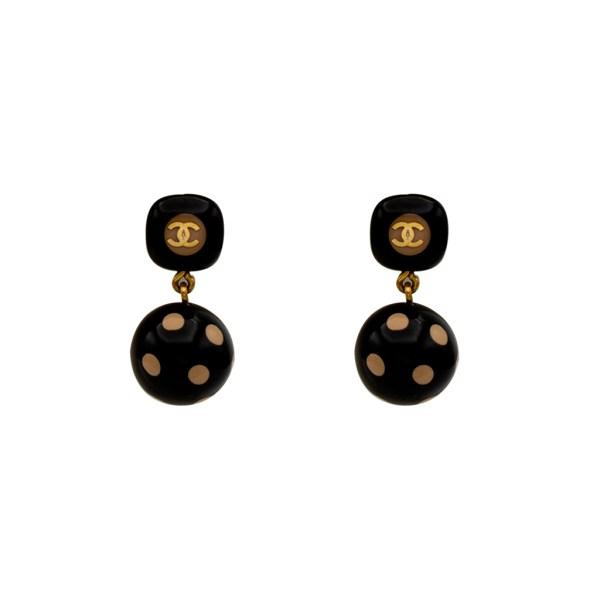 Chanel Black & Beige Acrylic Polka Dot Earrings, Autumn 2000