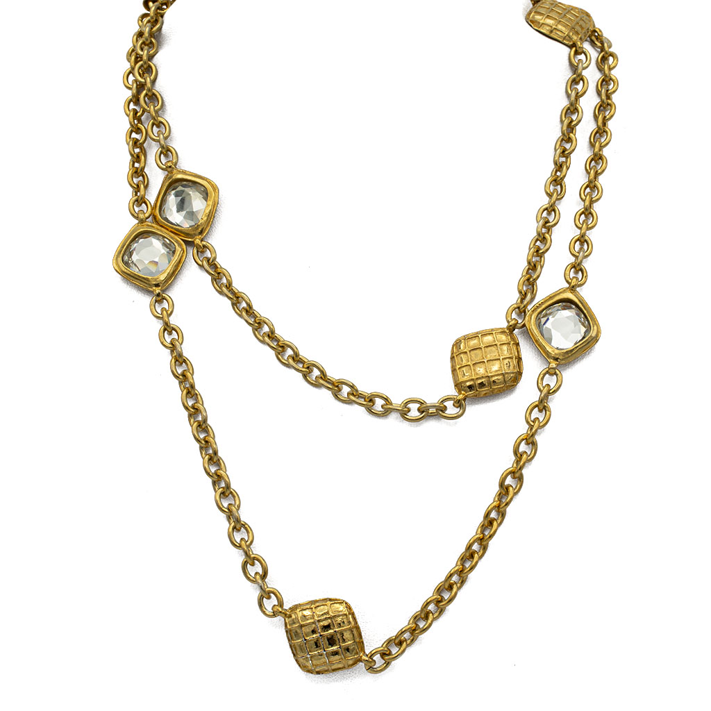 """Chanel 37 1/4"""" Gilt OVal Link Chain with Diamond Lattice Stations, 1980"""