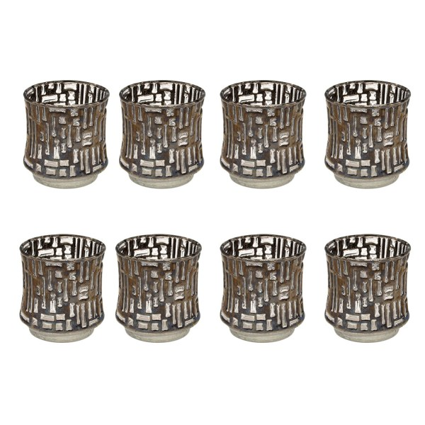 Mid Century Silver Textural Basket Weave Rocks Glasses, Set of Eight (8)