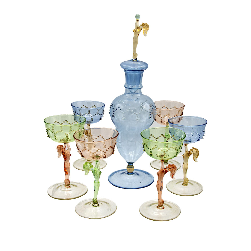 Art Deco Bimini Pastel Granulated Erotic Cordial Glasses with Decanter, Set of Six (6)