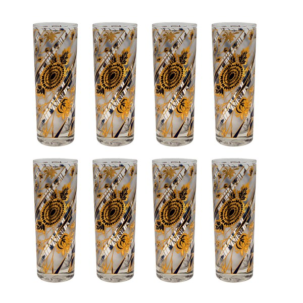 Culver Navy, Frosted, & 22k Gold Floral Tom Collins Glasses, Set of Eight (8)