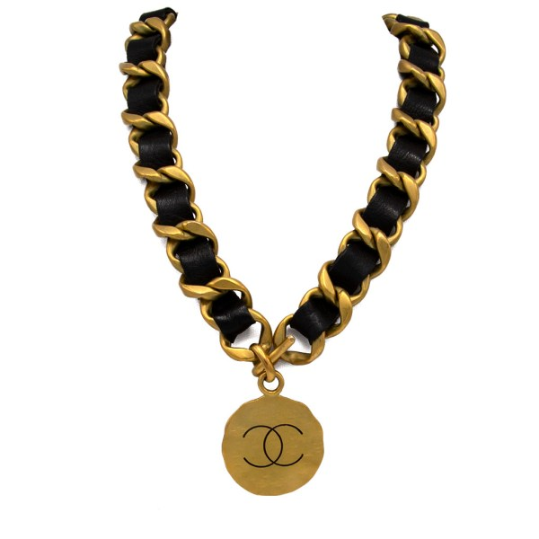 "Chanel 28 1/2"" Wide Gilt & Leather Free-Form Pendant Necklace, Autumn 1994"