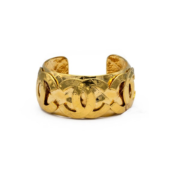 Chanel Gilt Triple Logo Quilted Cuff Bracelet, 1995