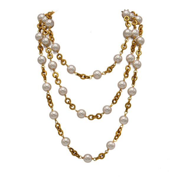 Chanel Pearl & Gilt Chain Necklace, 1990