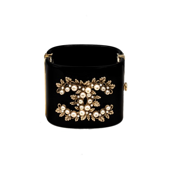 "Chanel 2 3/4"" Black Acrylic & Seed Pearl Hinged Cuff, 1990s"