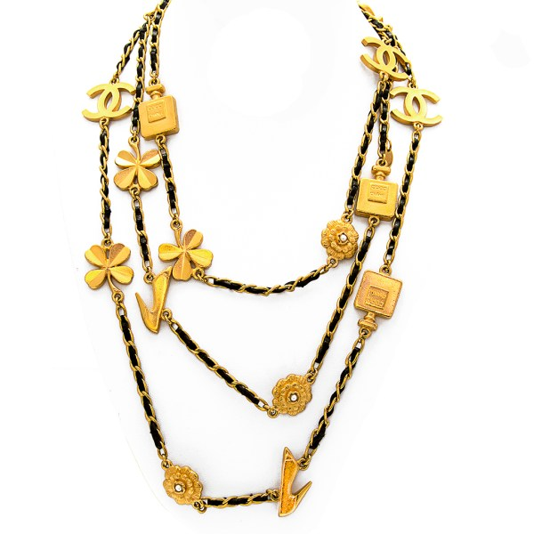 "Chanel 66"" Gilt & Leather Curb Chain Necklace with Multi Icon Stations, Spring 1996"