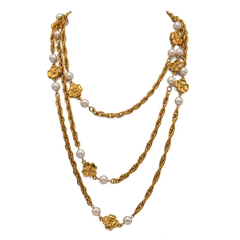 """Chanel 66 1/2"""" 4-Leaf Clover & Pearl Necklace, 1983"""