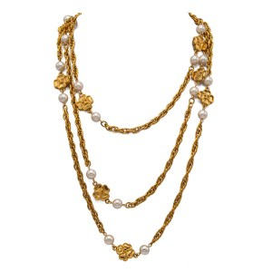 Chanel 66 1/2″ 4-Leaf Clover & Pearl Necklace, 1983