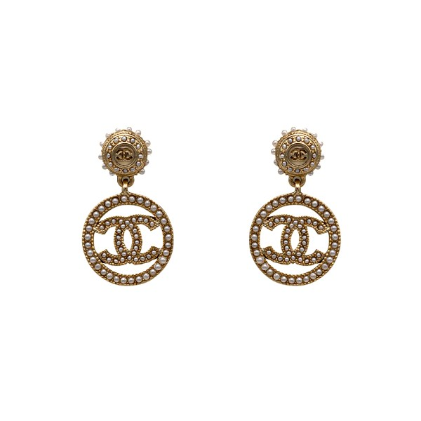 Chanel Gilt & Seed Pearl Doorknocker Hoop Earrings