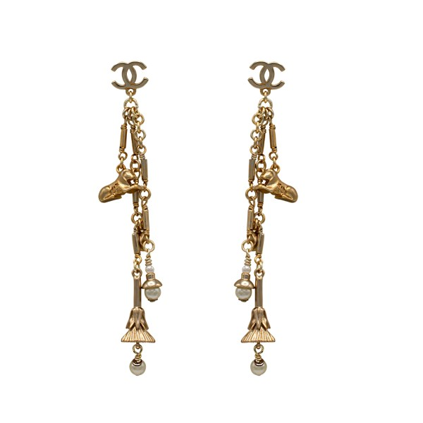 Chanel Gilt Fringe Earrings with Charms
