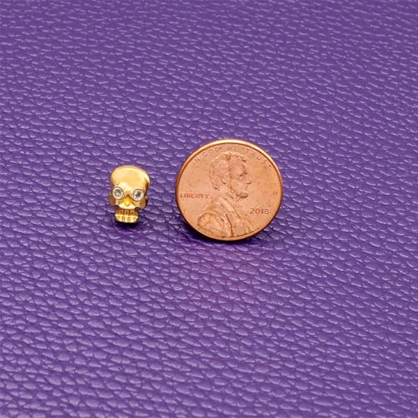 18K gold diamond eye memento mori skull stud earrings